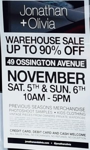 J+O warehouse sale