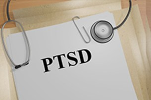 3D illustration of 'PTSD' title on medical document(Posttraumatic Stress Disorder) concept