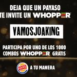 Burger King Chile celebra nominación de un payaso a los Oscars con Whoppers gratis.