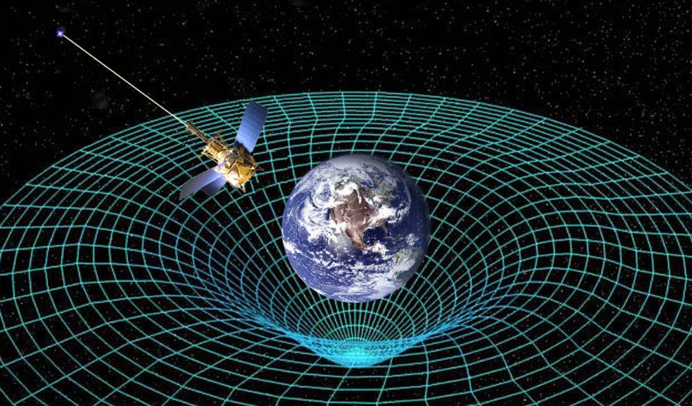Illustration de la déformation du tissu spatio-temporel par la Terre, avec un sattelite en orbite.