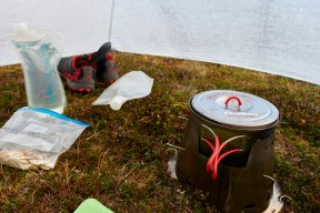 Breakfast in the tent, raining again.