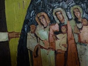 8. Station: Jesus begegnet den weinenden Frauen  Sorgen und Trauer. Ein Blick auf die Weinenden. Der Schmerz ist groß. Das Mitgefühl auch. Im Anblick des Leidens, in der Erfahrung des Sterbens. Momente der Ohnmacht angesichts dessen, was geschieht. Was kann uns trösten, wer kann uns aufrichten, wer gibt uns Mut?  Wir beten:  Für alle, die in dieser Zeit einen lieben Menschen verloren haben:  Christus, nimm dich ihrer an.  Für alle, die den Schmerz der Leidenden teilen: Christus,…  Für alle, die Sterbende begleiten: Christus,…  Für alle, die in Traurigkeit gefangen sind: Christus,…  Für alle, die für Trauernde da sind: Christus,…