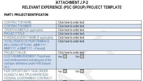 Many GSA-type proposals and new generation GWACs use a template similar to this Alliant 2 form.