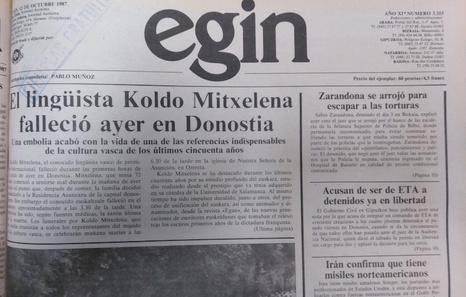 Egin Koldo mitxelena 30 urte