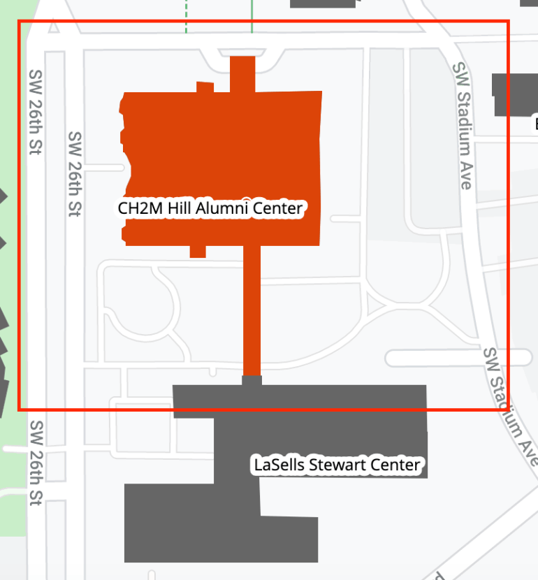 CH2M Hill Alumni Center map of area