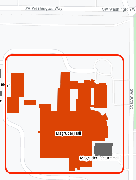 Magruder Hall area map