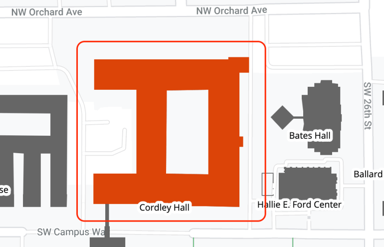 Cordley Hall area map
