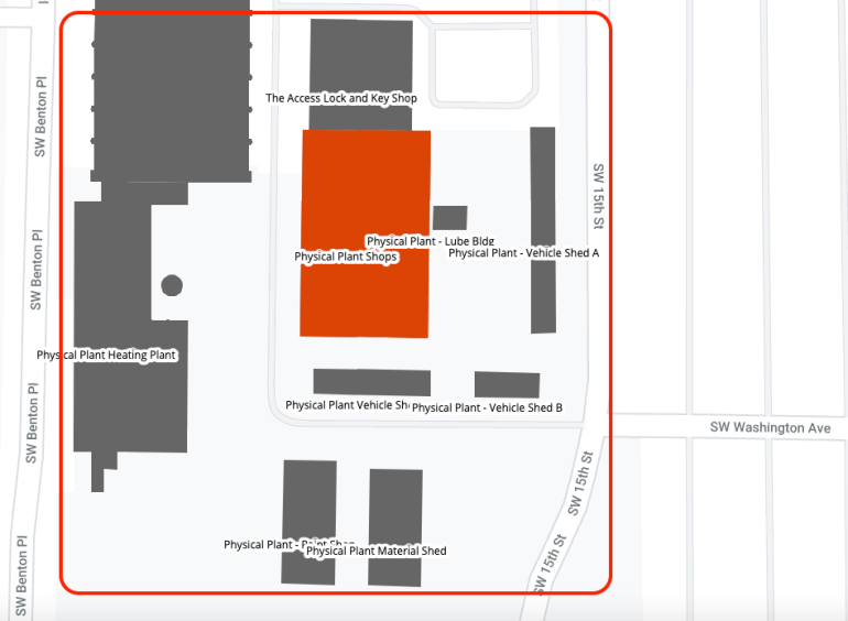 Former Facilities Services Shops buildings area map
