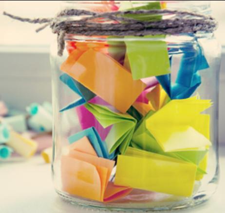 jar full of folded paper