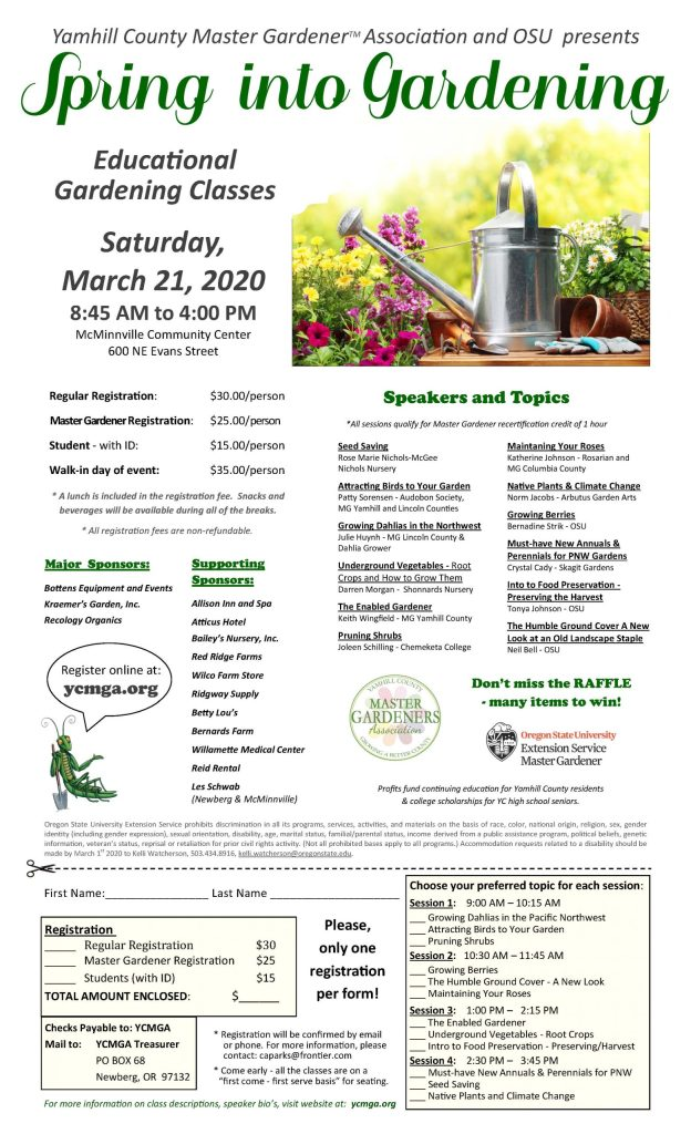 Yamhill Master Gardeners Spring Into Gardening, schedule and registration.
