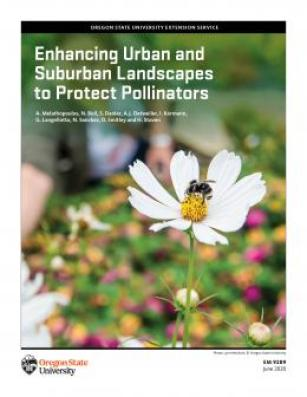 Cover of OSU publication 'Enhancing Urban Suburban Landscapes to Protect Pollinators, with a photo of a bumble bee gathering pollen from a white cosmo flower.