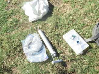 Bird weighing and tagging equipment.