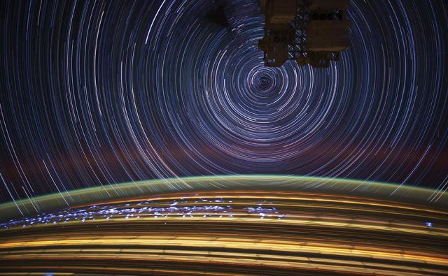 star trail image from space