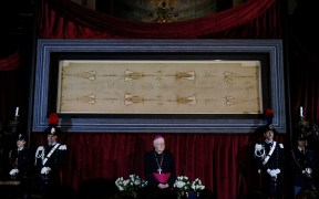 Shroud of Turin displayed at Cathedral of St. John the Baptist in Turin, Italy