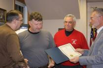 Former Town of Parish Supervisor's Bill Scriber and Frank House and present Supervisor Stephen J. Stelmashuck presented Carl Dayger with a plaque recognizing his 28 years if distinguished and dedicated service to the Town of Parish Highway Dept. 1982 – 2009 Including 20 years as Highway Superintendent.