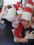 Blake Duncan giving Cat in the Hat a Special Day Hug