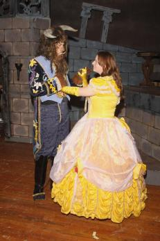 Enjoying a moment alone, Belle (played by Chelsea Avery) asks the Beast (portrayed by Nathan Hawthorne) to share a dance with her. Photo by Dave Dayger.