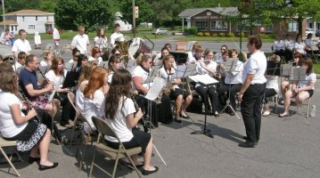 The Hannibal High School Band, directed by Shirley Terrinoni, performs patriotic music for the ceremony. Jim Terrinoni photo.