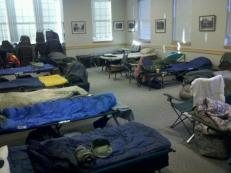 The sleeping arrangements for volunteers at the Armonk Fire Station. All photos by Kris Bateman and Charles Marks.