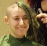 Caitlin Weinell was the first to be shaved this year - and it was her first time participating in St. Baldrick's as well.