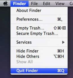 выйти из Finder Mac