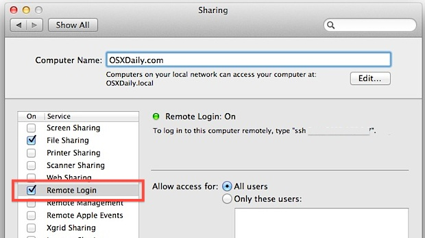Enable and use the SFTP server in Mac OS X Lion