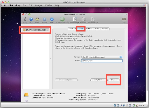 Format the virtual hard disk to HFS