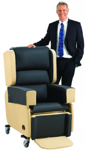 Dr Hilary with Repose's Melrose chair, which was designed to help care professionals to offer tailored pressure relief solutions.