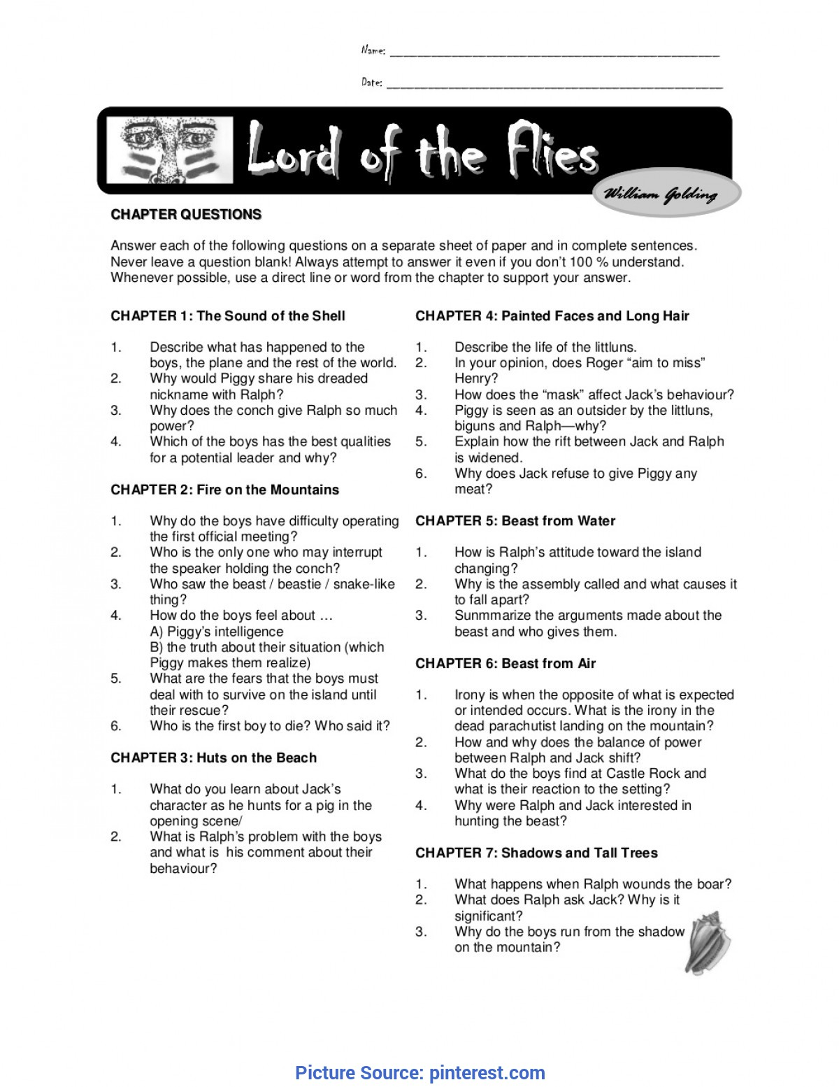 Best Lord Of The Flies Lesson Plans Chapter Questions Lord