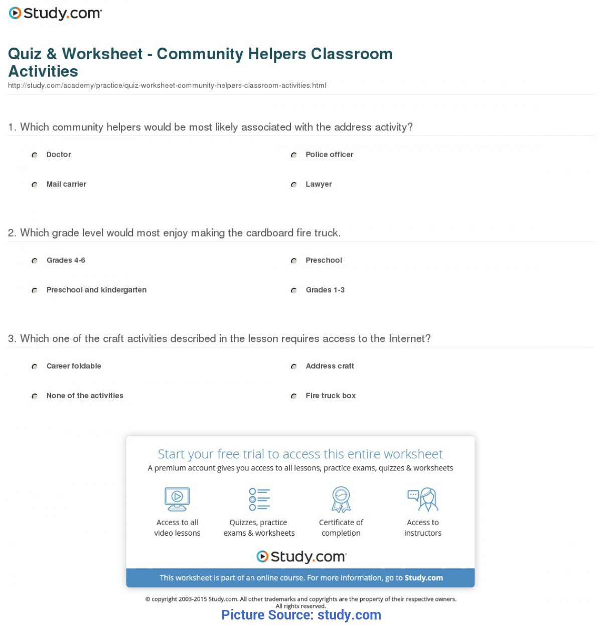 Excellent Community Helpers Worksheets Grade 1 Quiz