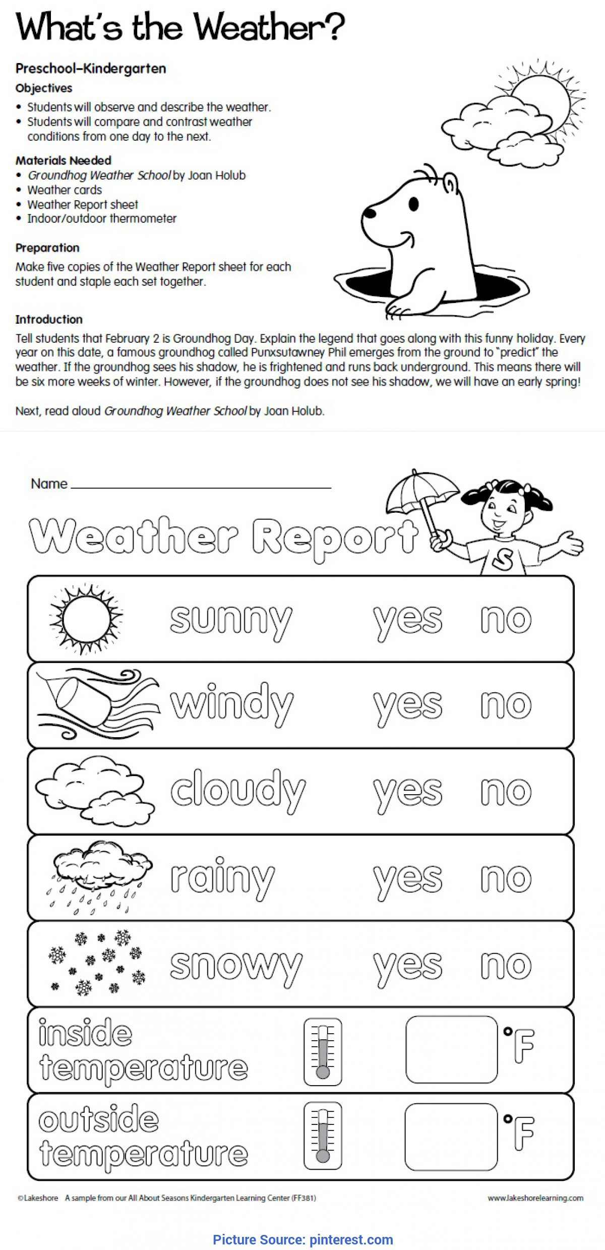 Special Weather Lesson Plans For Kindergarten What S The