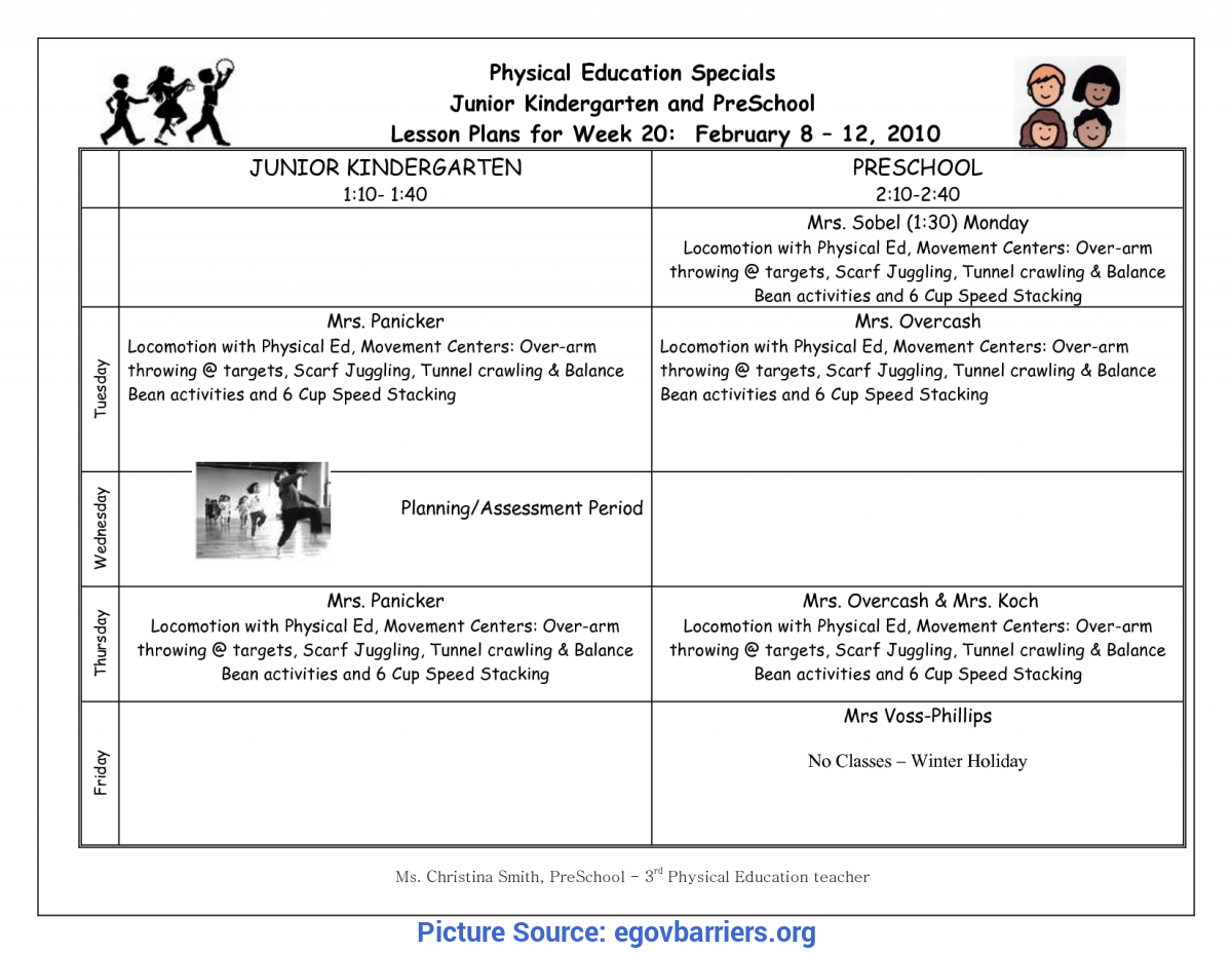 Typical Kindergarten Lesson Plans Physical Education 23