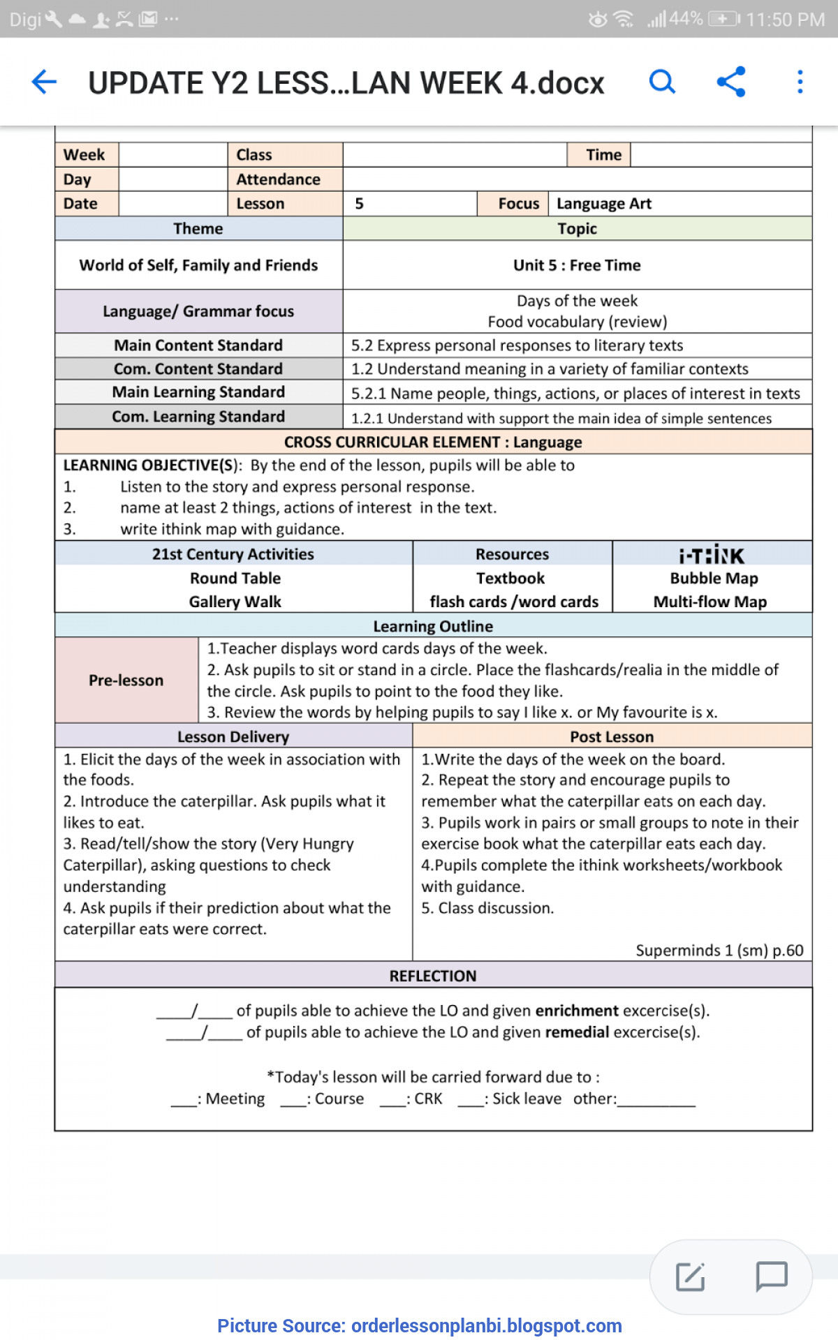 Typical Lesson Plan Template Cefr Year 2 Cefr Unit 5 Free