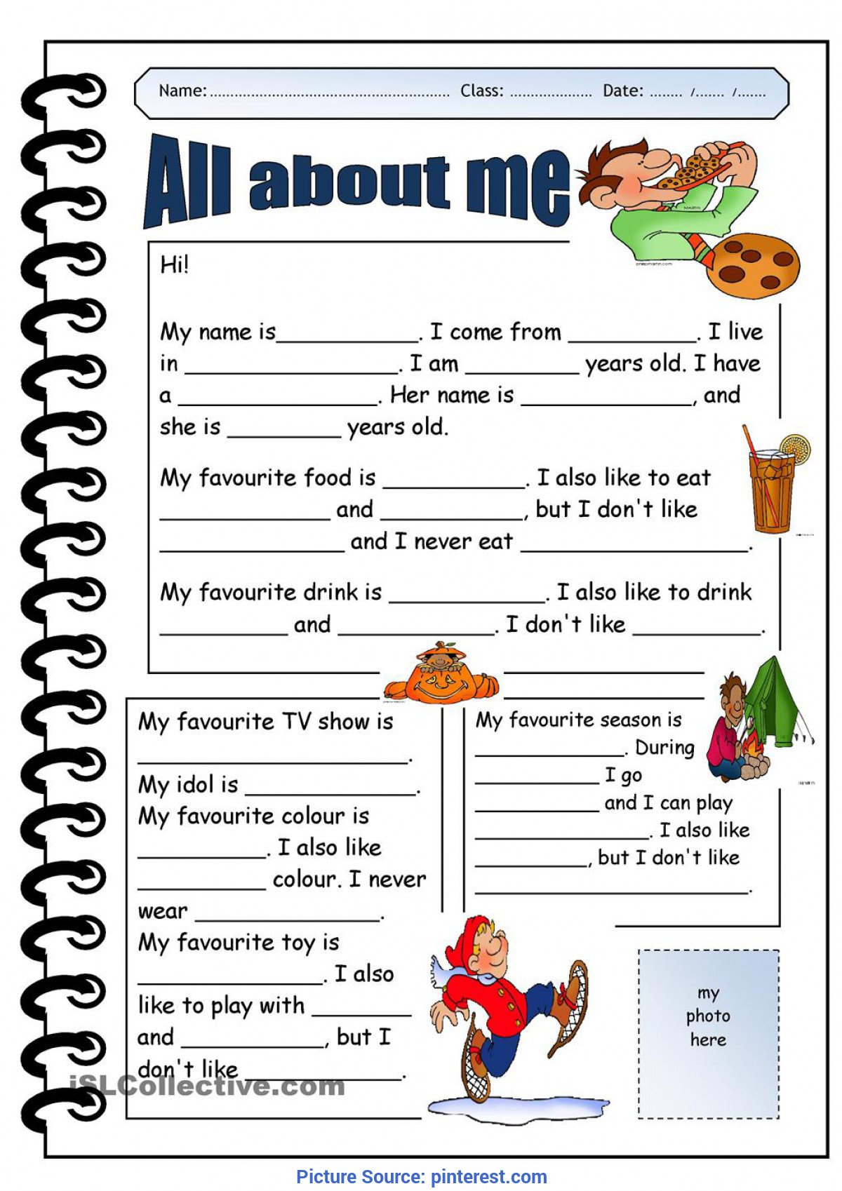 All About Me Worksheet For Middle School Students