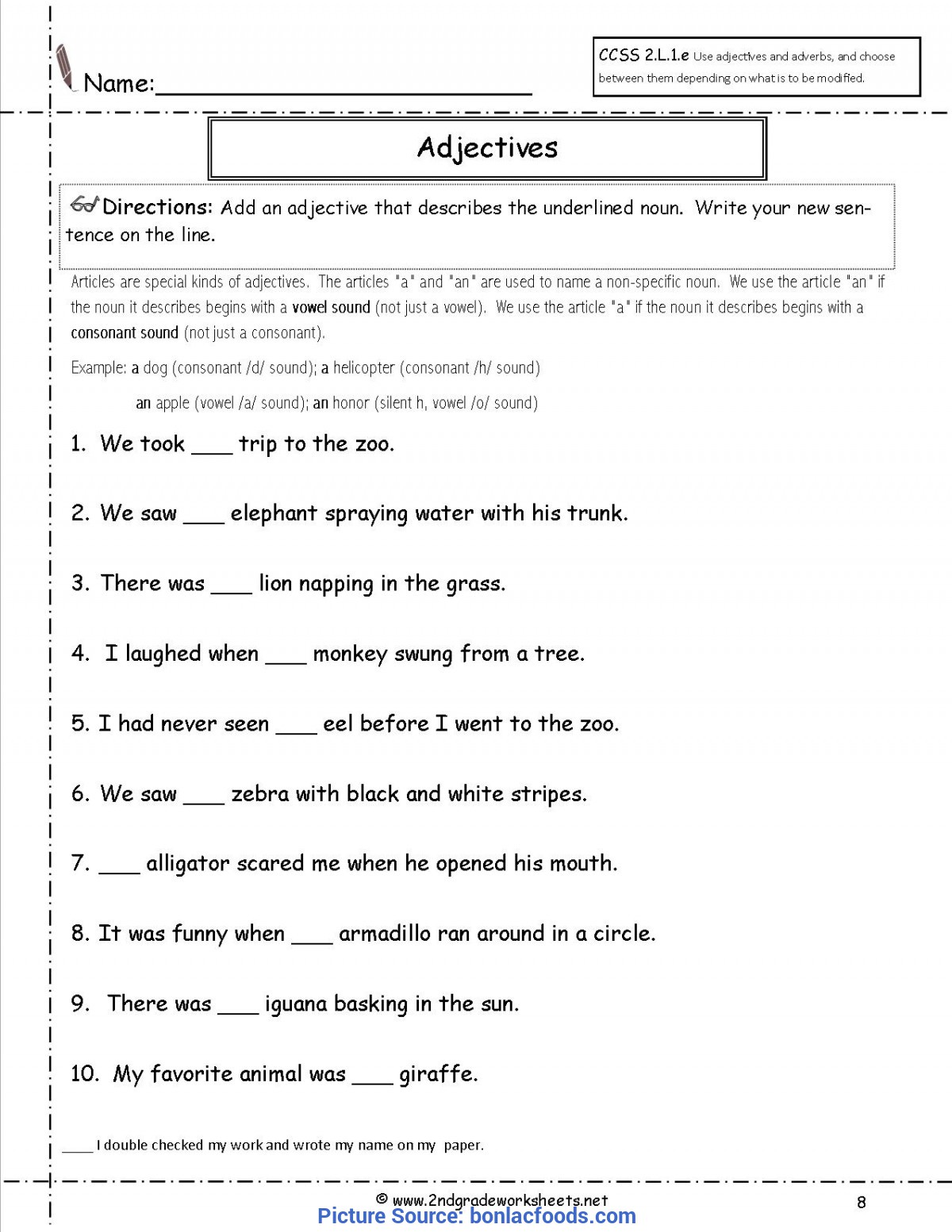 Valuable 2nd Grade Lesson Plans Adjectives Worksheets For