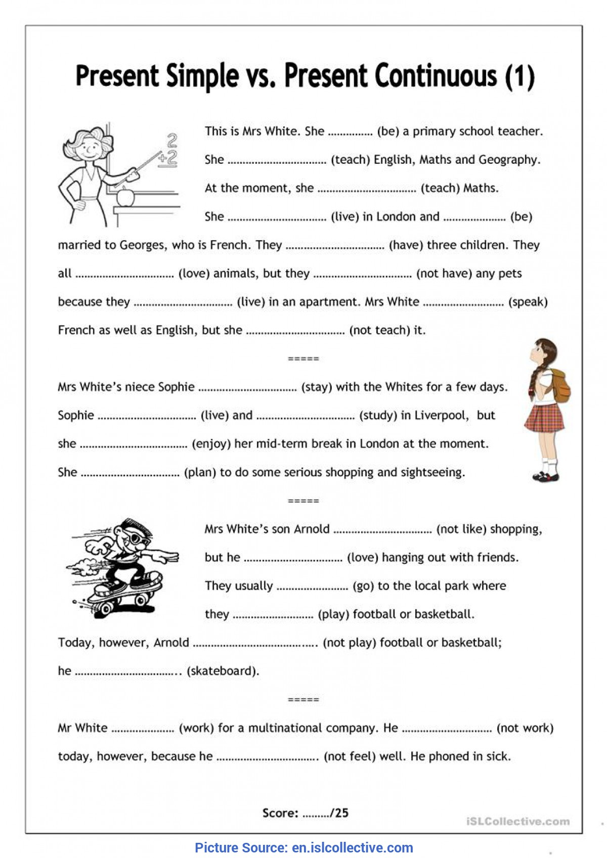 Free Esl Worksheets For Elementary Students