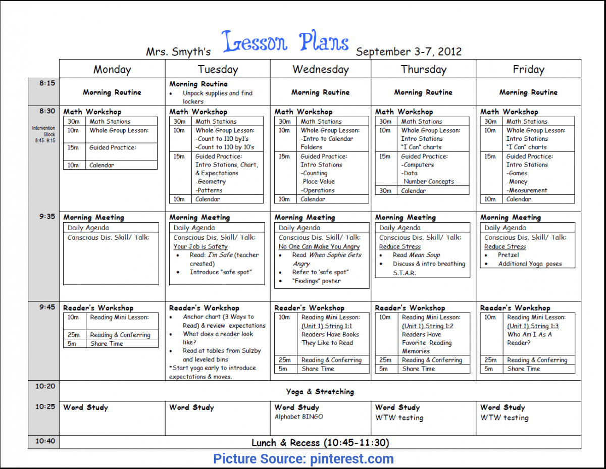 Simple Lesson Plans For Pre K Free Infant Blank Lesson
