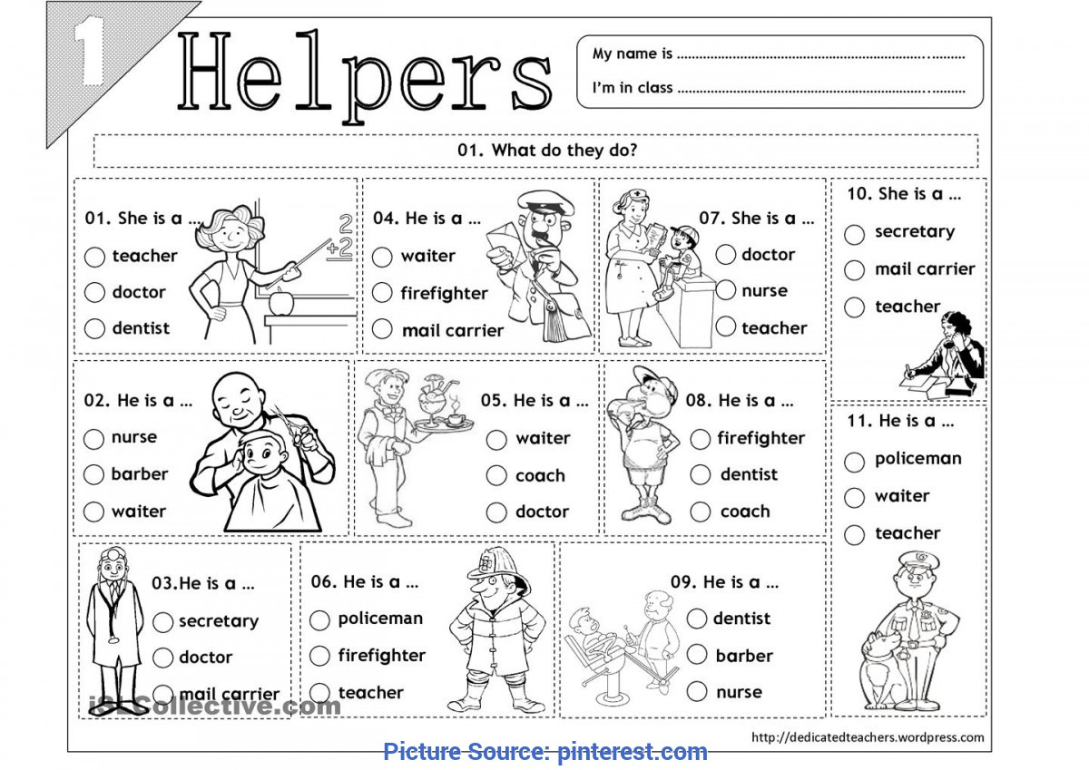 Valuable Our Helpers Worksheet Kindergarten Social Stu S