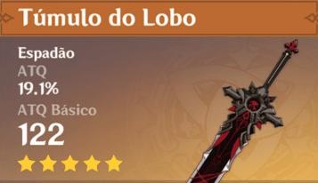 Espada Tumulo do Lobo Genshin Impact, melhor espada para o Diluc