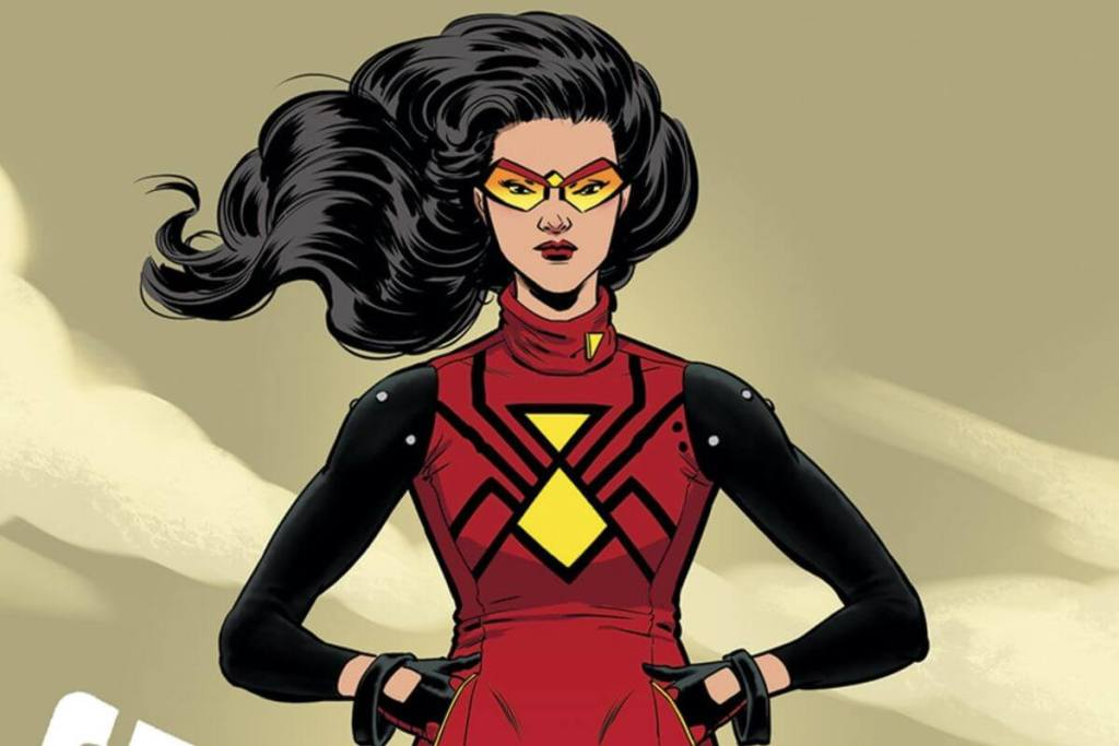 Imagem da Mulher-Aranha nos quadrinhos, com os cabelos voando e a mão dentro da jaqueta