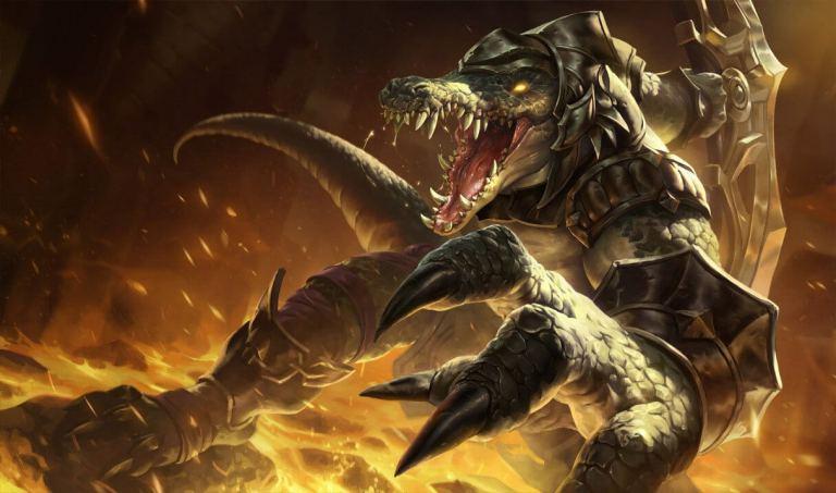 A imagem mostra o campeão de League of Legends Renekton. Otageek