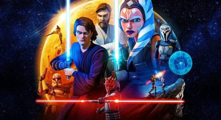 Capa de The clone wars com Ahsoka, Anakin e Obi Wan