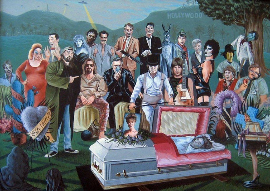 arte com personagens de diversas obras clássicas de Hollywood - Otageek