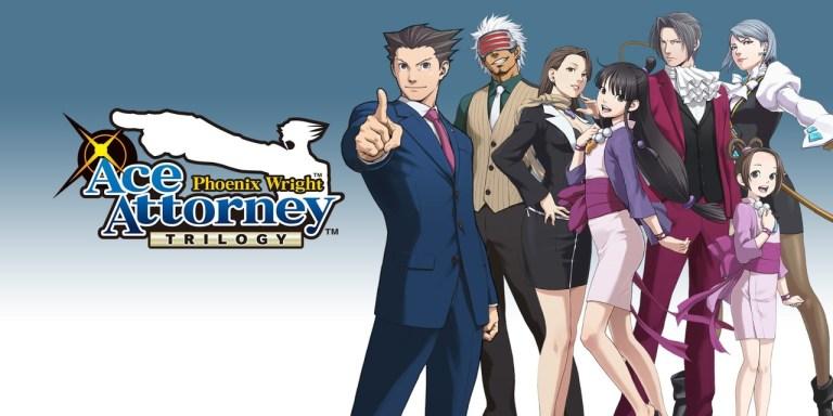 Personagens do jogo Ace Attorney posando para com o logo da franquia.