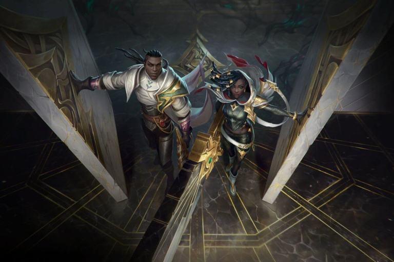 Os Sentinelas da Luz Lucian e Senna no wallpaper do Wild Rift.