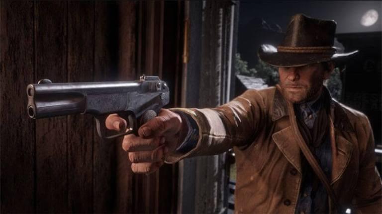 Cena de Red Dead Redemption com personagem mostrando arma