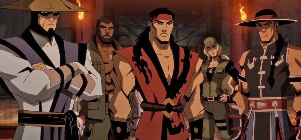 Da esquerda pra direita: Raiden, Jax, Liu Kang, Sonya e Kung Lao em Mortal Kombat Legends: A Batalha dos Reinos