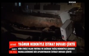 KOZAN'DA YAĞMUR NEDENİYLE İSTİNAT DUVARI ÇÖKTÜ