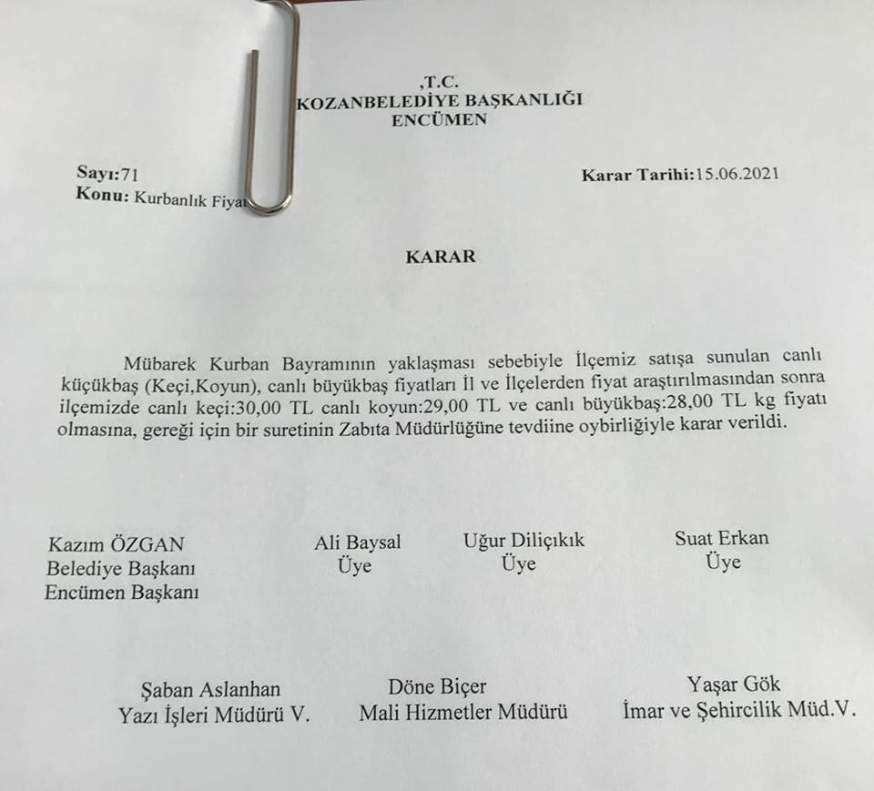 KOZAN'DA CANLI KURBANLIK FİYATLARI BELİRLENDİ