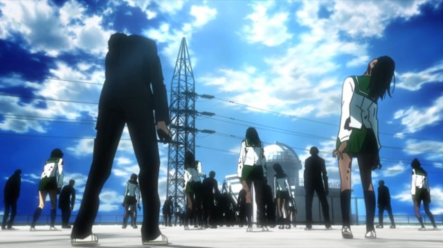 Highschool of the Dead Episode 1 Takashi Surrounded by Zombies